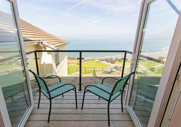Balcony with sea view in North Devon
