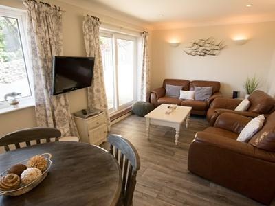 Lounge with patio doors