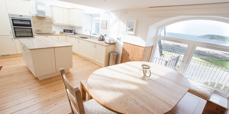 Kitchen Dining with an amazing view over Croyde Bay North Devon