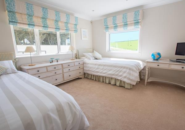 Twin bedroom with countryside views