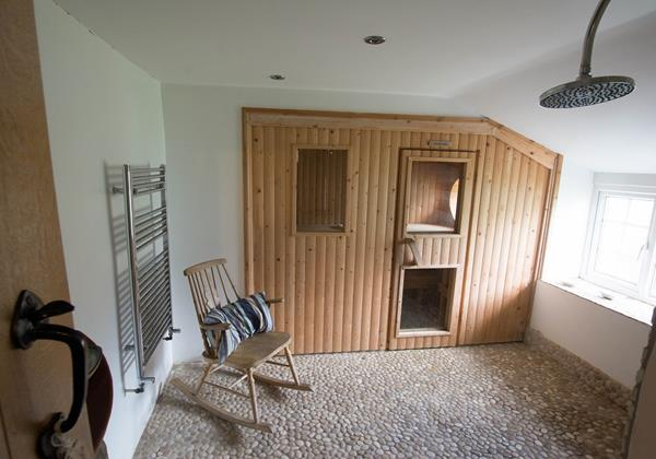 Sauna room with changing facilities