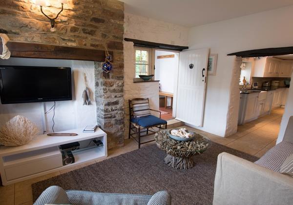 Whitewashed walled lounge