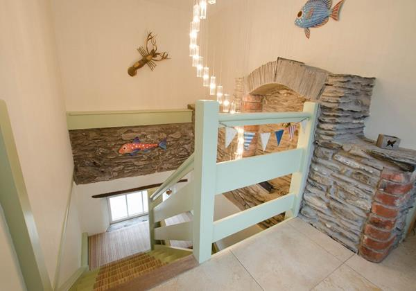 Barn conversion retained charm stairwell