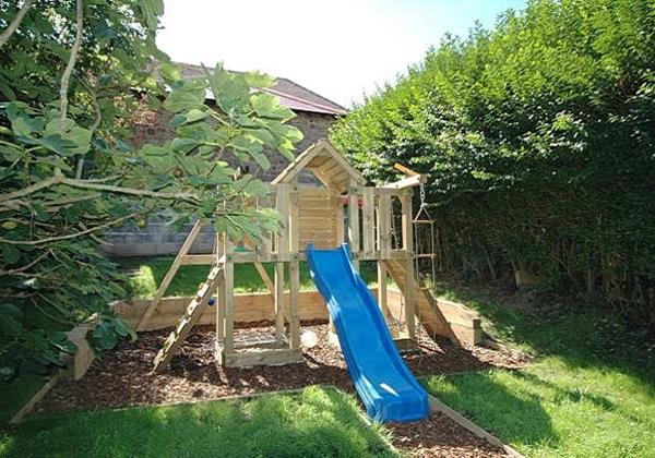 Adventure play area slide and climbing frame