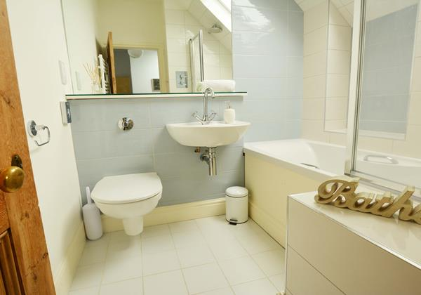Upstairs family bathroom with shower