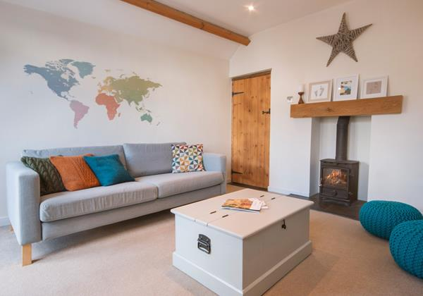 Comfortable lounge with wood burner