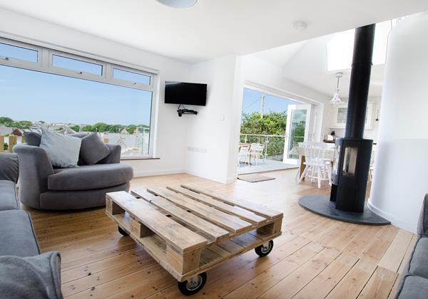 Spacious open plan living room with terrific views of the North Devon coast