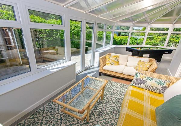 Sun lounge conservatory with Pool table and games