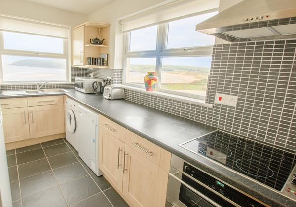 Kitchen at Beach Breeze, Croyde